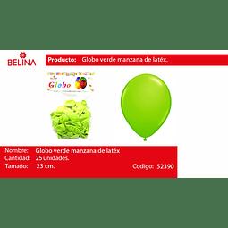 Globo verde manzada 25unid