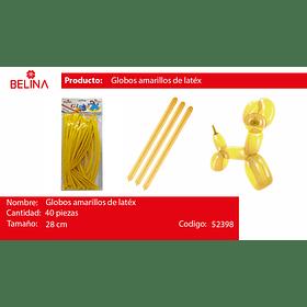 Globos largos amarillo 40pcs