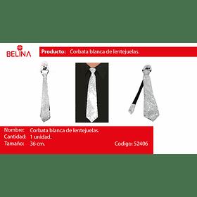 Corbata de lentejuelas blanco