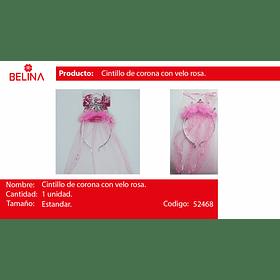 Cintillo de corona con velo rosa