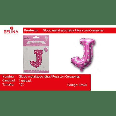 Globo letra J rosa 16 pulgadas
