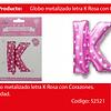 Globo letra K rosa 16 pulgadas