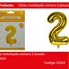 Globo Número 2 Oro 40 Pulgadas