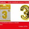 Globo Número 3 Oro 40 Pulgadas