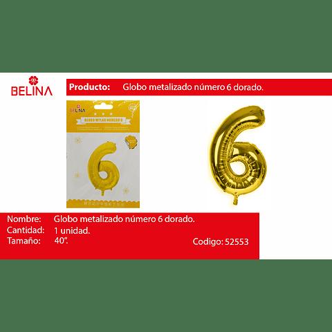 Globo Número 6 Oro 40 Pulgadas