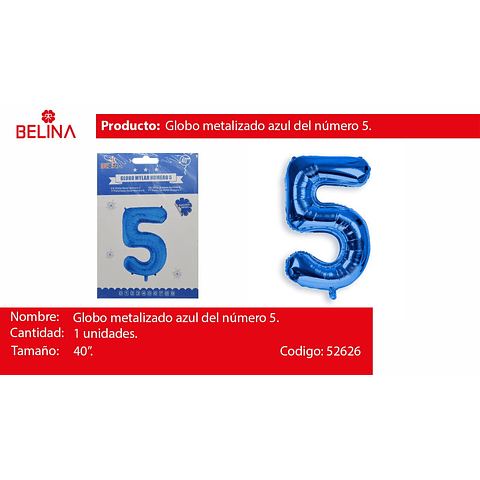 Numero 5 azul 40 pulgadas