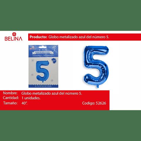 Globo Número 5 Azul 40 Pulgadas