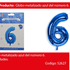 Globo Número 6 Azul 40 Pulgadas