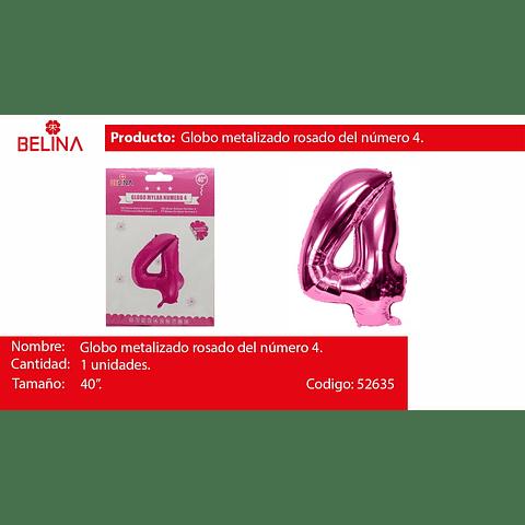 Globo Número 4 Rosa 40 Pulgadas