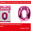 Globo Número 0 Rosa 40 Pulgadas
