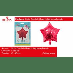 Globo estrella rojo tornasol 45*45cm