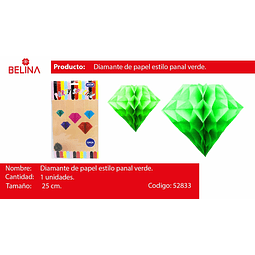 Diamante de papel verde 25cm