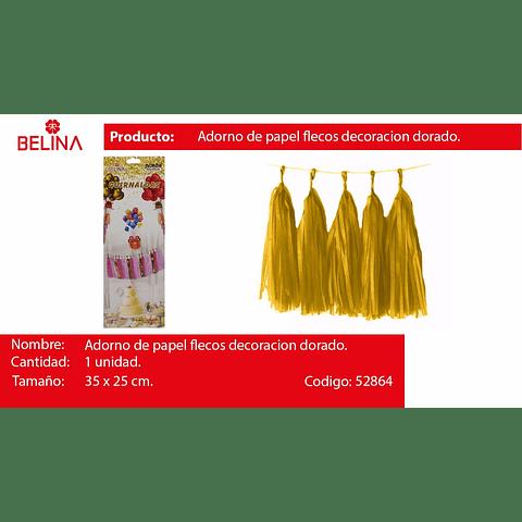 Adorno de papel flecos decoracion dorado