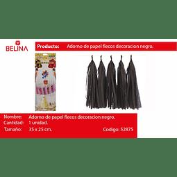 Adorno de papel flecos decoracion negro