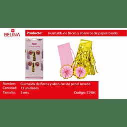 Guirnalda con flecos y abanicos rosa