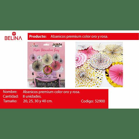 Abanicos Rosa, Blanco Y Oro