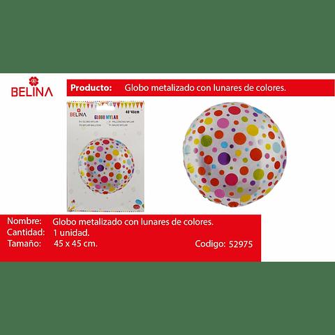 Globo metalico de puntos multicolor 18