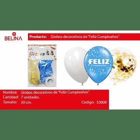 Set de globos feliz cumpleaños  confeti azul