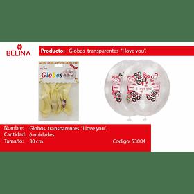 Globo latex i love you transparente