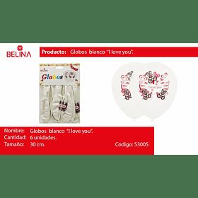 Globo latex i love you blanco