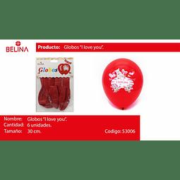 Globo latex i love you rojo