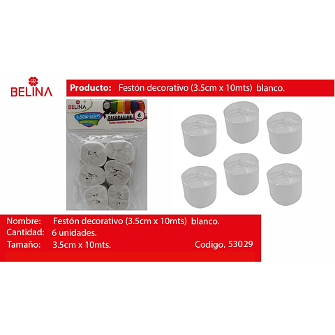 Feston blanco 6pcs 3.5x10m