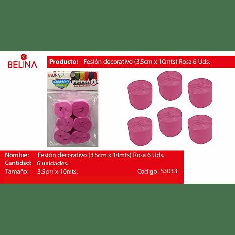 Feston grueso rosado 6pcs 3.5x10m