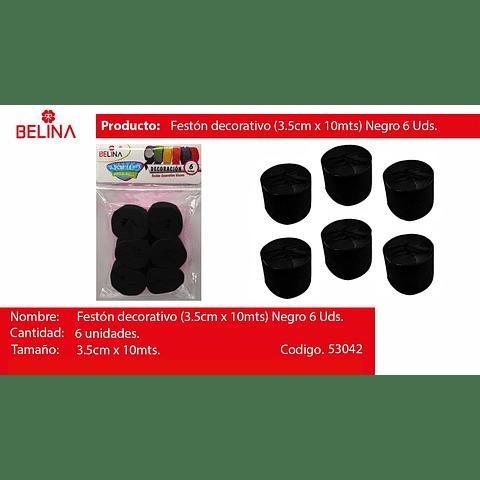 Feston Grueso Negro 6pcs 3.5x10m