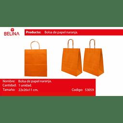 Bolsa de papel mediana naranja