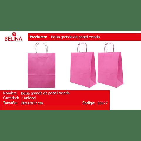 Bolsa de papel grande rosada
