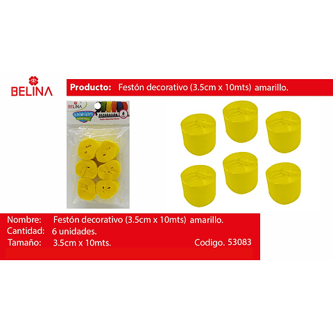 Feston grueso amarillo 6pcs 3.5x10m