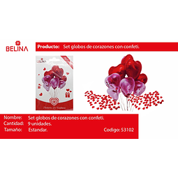 Set de globos corazon metalico y latex 9pcs
