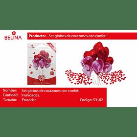 Set de globos corazon metalico y latex 9pcs