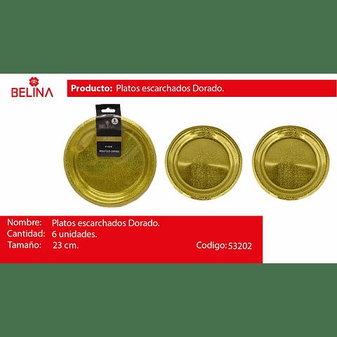 Plato grande escarchado oro