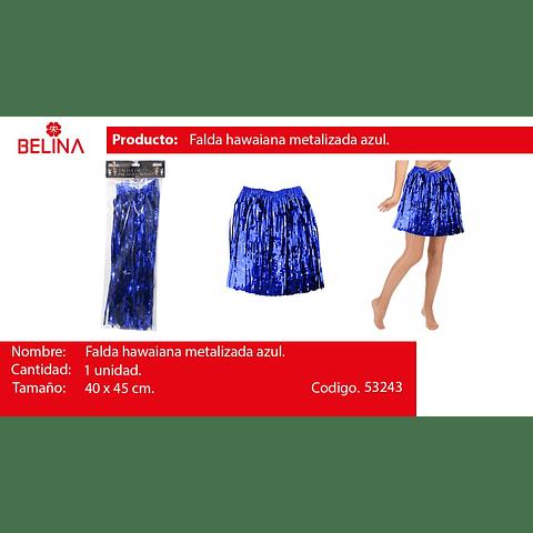 Falda hawaiana metalizada azul