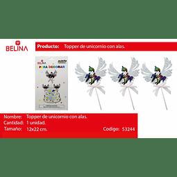 TOPPER UNICORNIO CON ALAS Y LENTEJUELAS