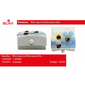 Caja con flores de recuerdo azul