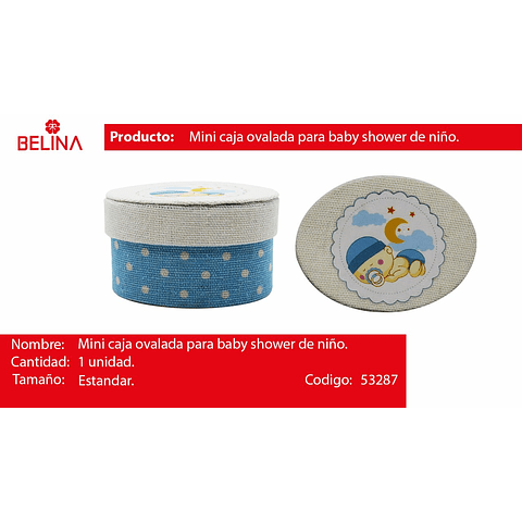 Mini Caja Puntos Ovalada Bebe Azul