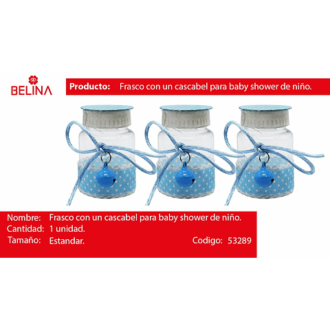 Mini frasco con puntos y cascabel azul