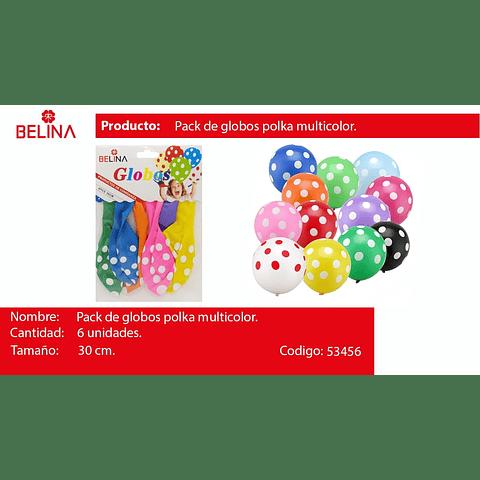 Globo De Latex Puntos Multicolor 6pcs 30cm