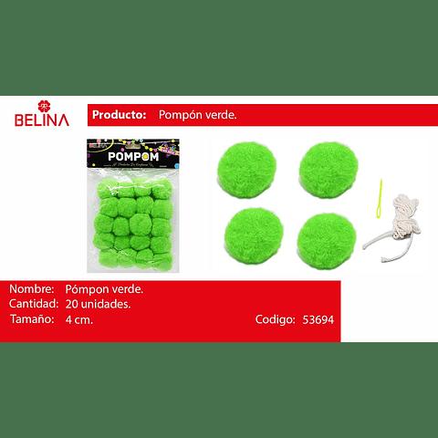 Pompon verde 4cm 20pcs