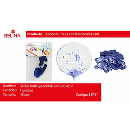Globo burbuja confeti redondo azul