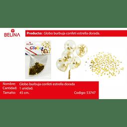Globo burbuja confeti estrella oro