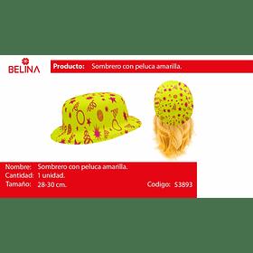Sombrero amarillo dise�o fluor con pelo 2#6