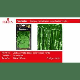 Cortinas metalicas verde tornasol 2m