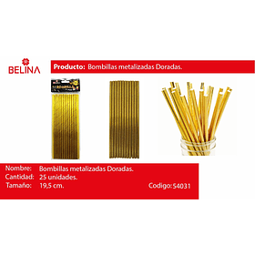 Bombillas oro 25pcs 6*197mm