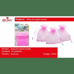 Bolsas de organza rosada 10pcs 8*10cm