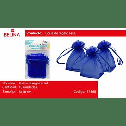 Bolsas de organza azul 10pcs 8x10cm