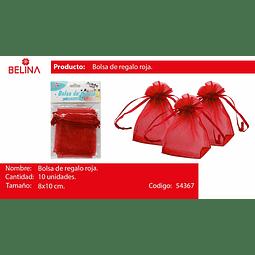 Bolsas de organza roja 10pcs 8*10cm