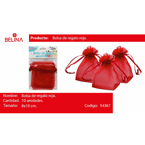Bolsas de organza roja 10pcs 8x10cm
